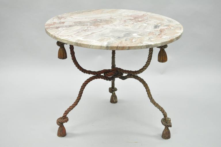 1940s Italian Marble-Top Rope Turned Round Tassel Form Iron Center Table 4