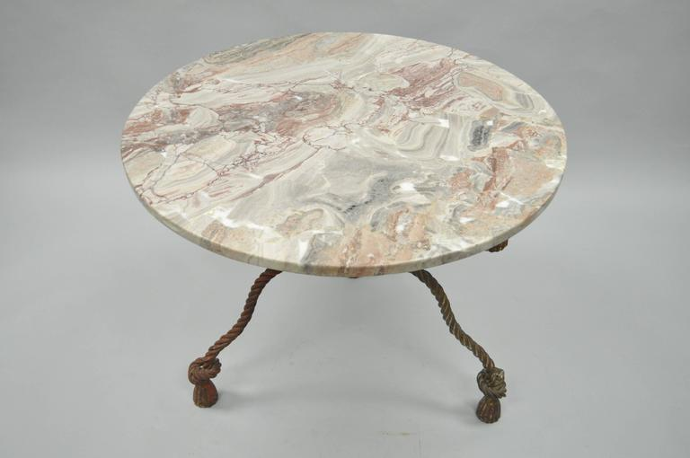 Hollywood Regency 1940s Italian Marble-Top Rope Turned Round Tassel Form Iron Center Table