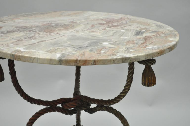 1940s Italian Marble-Top Rope Turned Round Tassel Form Iron Center Table 2