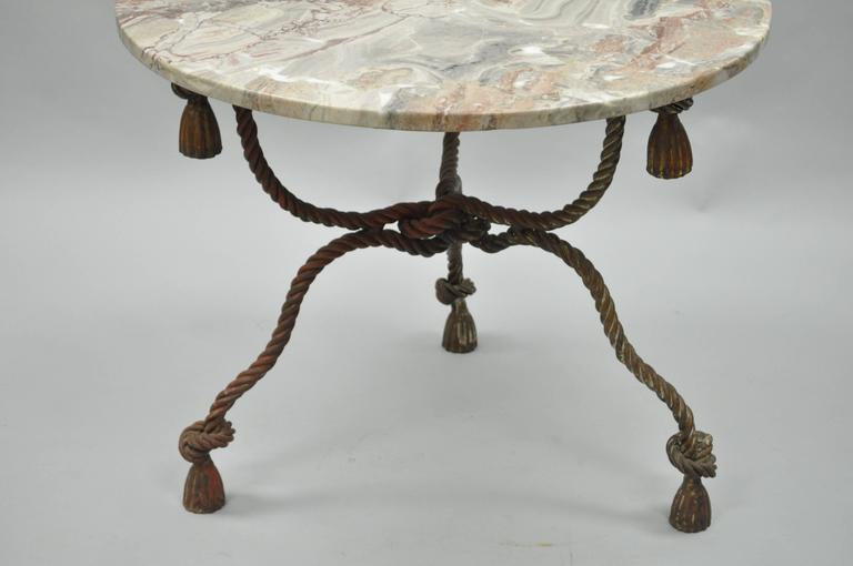 1940s Italian Marble-Top Rope Turned Round Tassel Form Iron Center Table In Excellent Condition In Philadelphia, PA