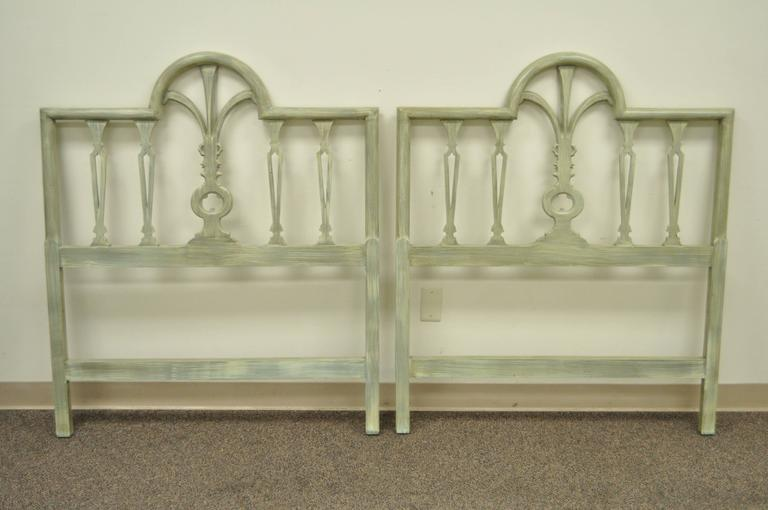 Pair of Prince of Wales Plume Feather Carved Wood Single Twin Bed Headboards For Sale 1