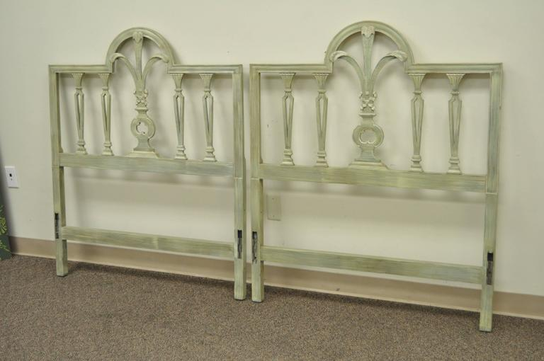 Pair of Prince of Wales Plume Feather Carved Wood Single Twin Bed Headboards For Sale 3
