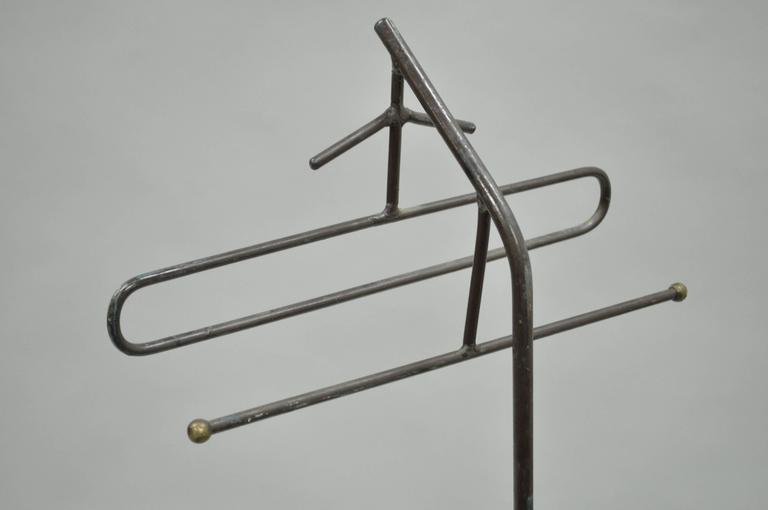 Mid-Century Modern Wrought Iron Modernist Hairpin Valet after Jacques Adnet In Good Condition For Sale In Philadelphia, PA