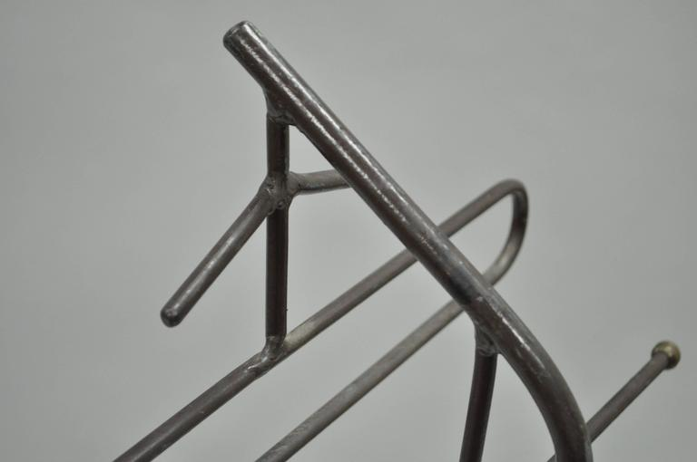Mid-Century Modern Wrought Iron Modernist Hairpin Valet after Jacques Adnet For Sale 3