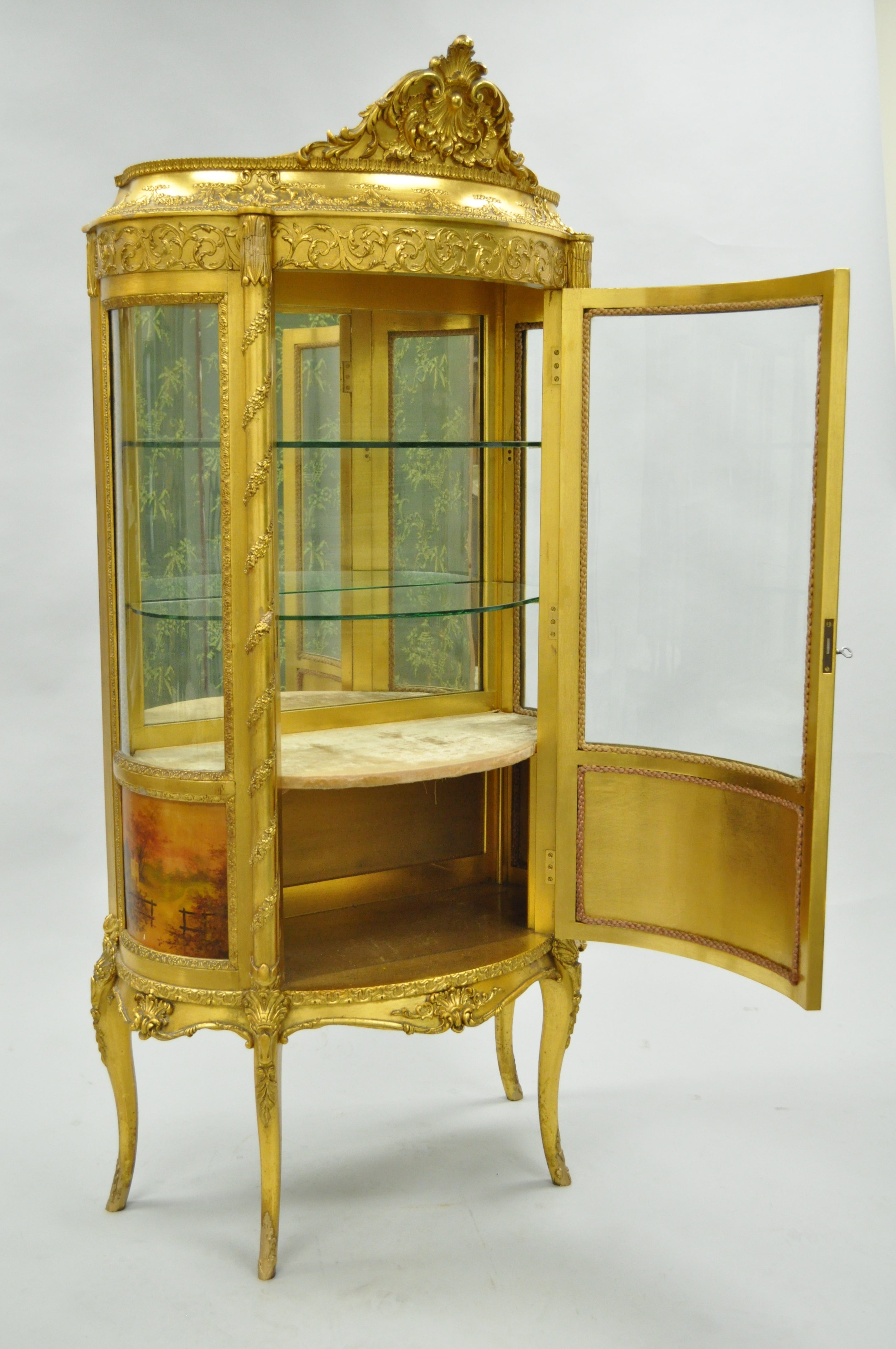 French Louis XV Gold Giltwood Vernis Martin Curved Glass Vitrine ...