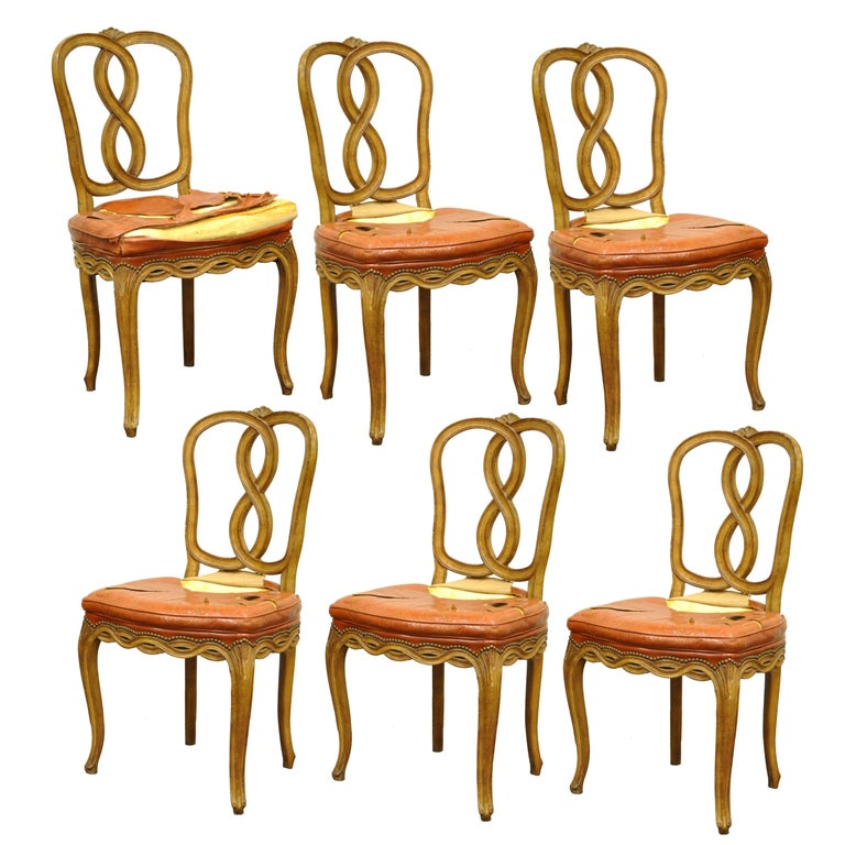 French Provincial Chair >> 6 Pretzel Ribbon Back Hollywood Regency French Provincial Rococo
