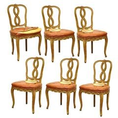 Set of Six Pretzel Back Hollywood Regency French Provincial Dining Side Chairs