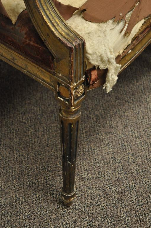 Pair of Gold Giltwood 19th Century French Louis XVI Style Dining Armchairs For Sale 2