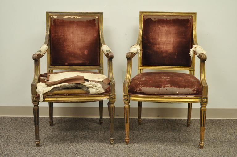 Elegant pair of French Louis XVI style giltwood armchairs. These late 19th century French chairs features reeded and tapered legs, square backs and classic Louis XVI form. Original antique condition. 27