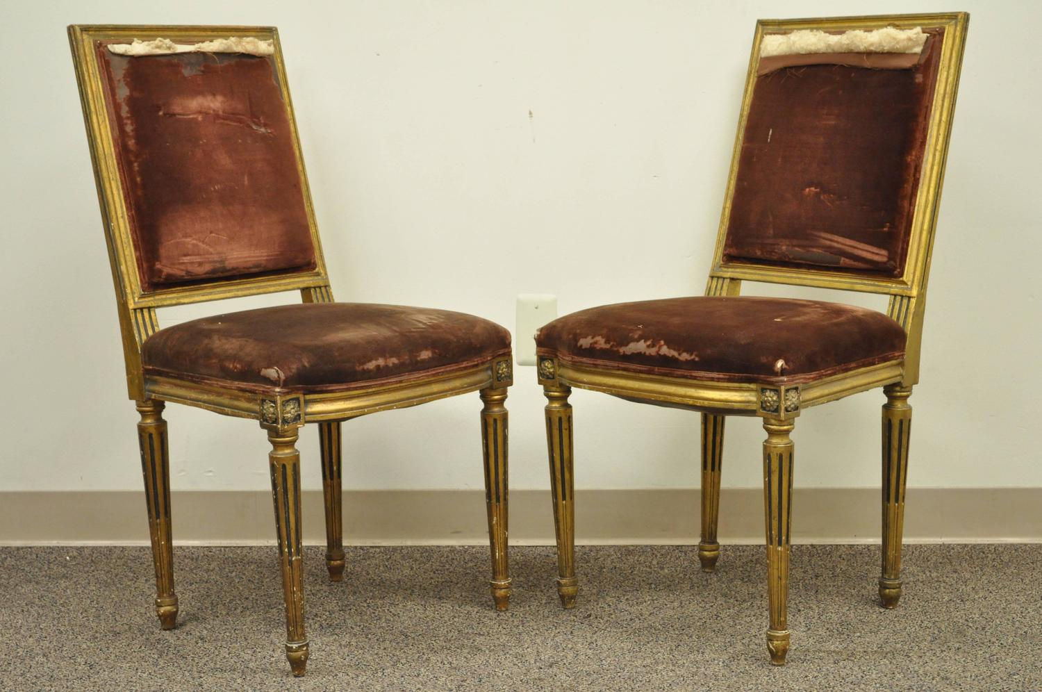 Set Of Four Gold Giltwood 19th Century French Louis XVI Style Dining Side Cha