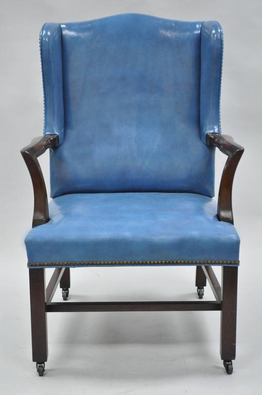 Georgian Mid-20th Century Blue Leather Office Desk Chair on Casters After Edward Wormley For Sale