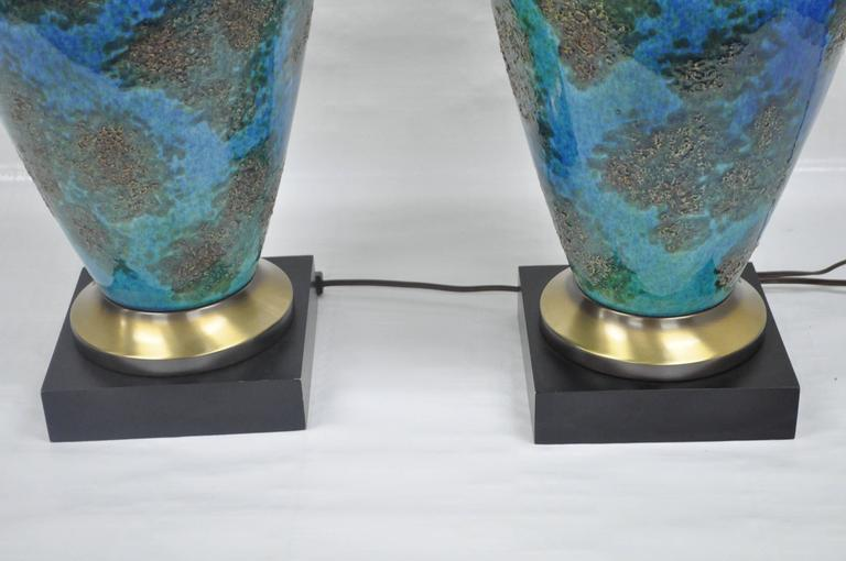 Pair of Mid-Century Italian Modern Blue Glazed Ceramic Sculptural Table Lamps In Excellent Condition For Sale In Philadelphia, PA