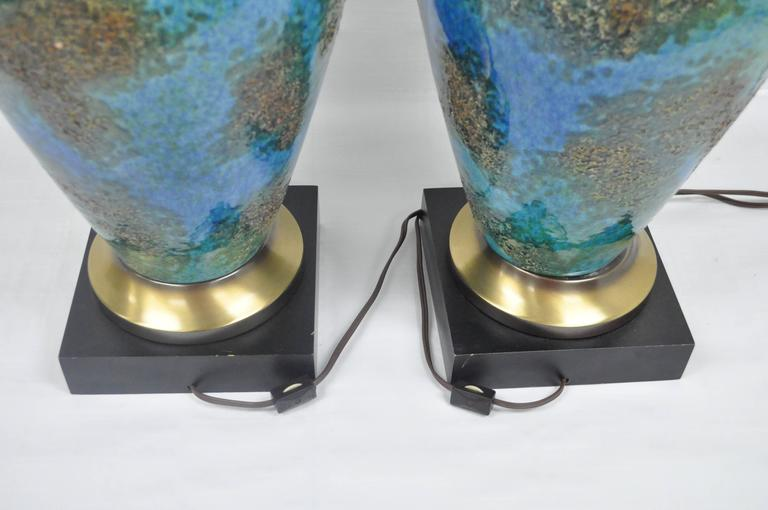 Pair of Mid-Century Italian Modern Blue Glazed Ceramic Sculptural Table Lamps For Sale 3