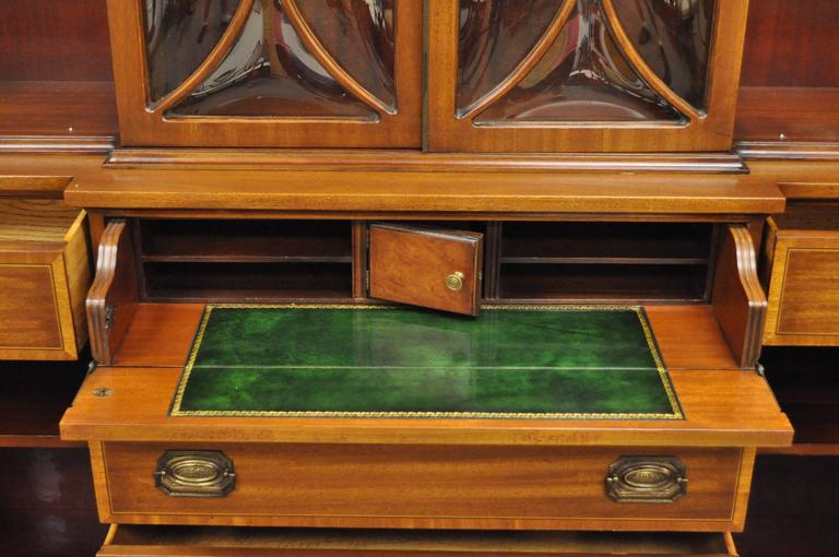 American Custom Georgian Style Bubble Glass Satinwood Inlaid Mahogany Breakfront Cabinet For Sale