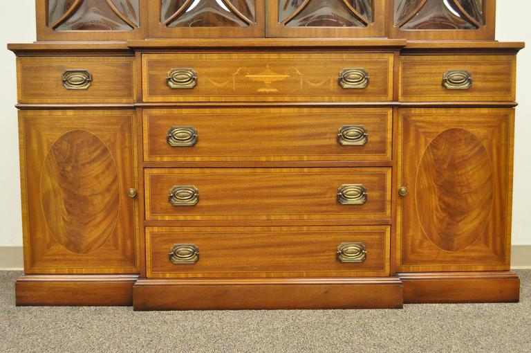 Mid-20th Century Custom Georgian Style Bubble Glass Satinwood Inlaid Mahogany Breakfront Cabinet For Sale