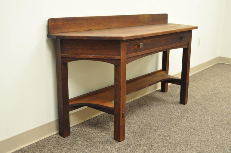 Very Rare One Drawer Mission Oak Console Table By Limbert With Backsplash Circa 1910
