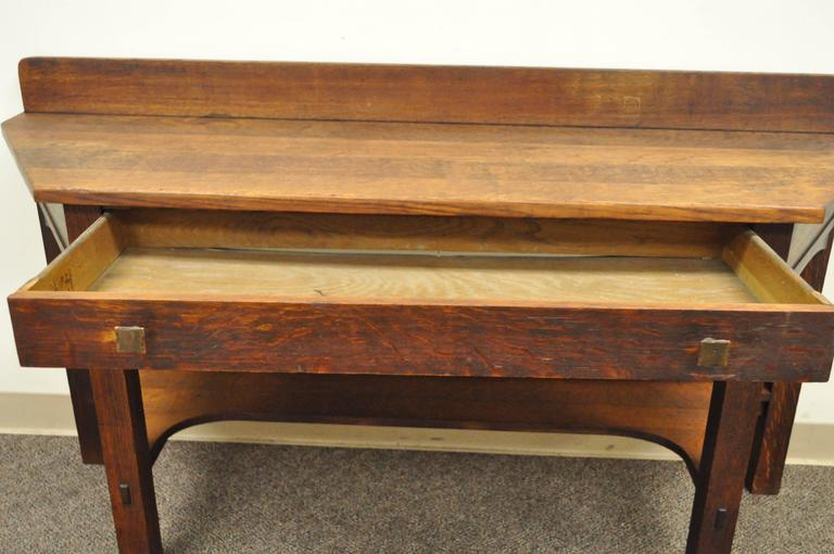 Copper Rare Limbert One-Drawer Mission Oak Console Table with Backsplash, circa 1910 For Sale