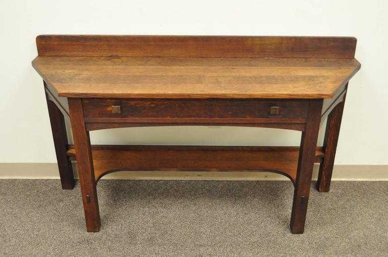 Rare Limbert One-Drawer Mission Oak Console Table with Backsplash, circa 1910 For Sale 4