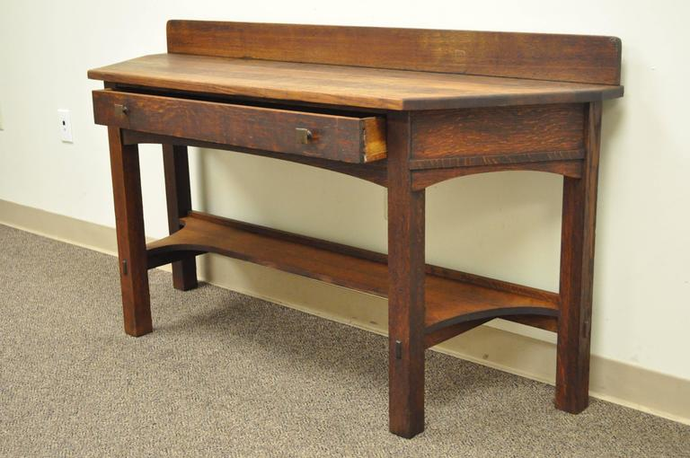 Rare Limbert One-Drawer Mission Oak Console Table with Backsplash, circa 1910 For Sale 3