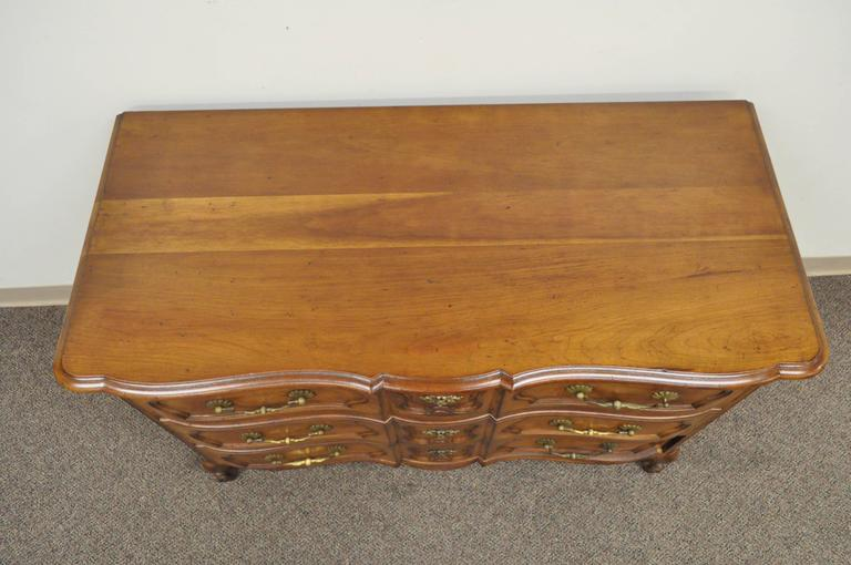 Country French Provincial Louis XV Style Cherry Bachelor Chest of Drawer Commode For Sale 1