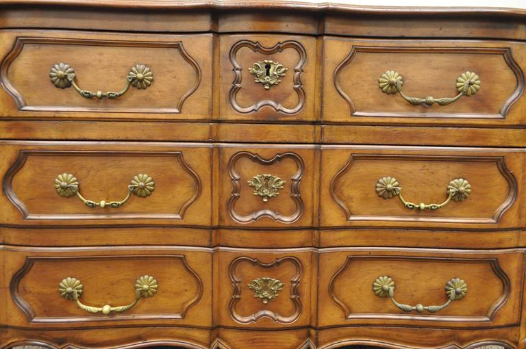 Country French Provincial Louis XV Style Cherry Bachelor Chest of Drawer Commode For Sale 4
