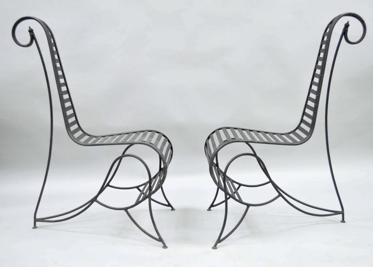 Remarkable pair of Sculptural Mid-Century Modern style steel and iron
