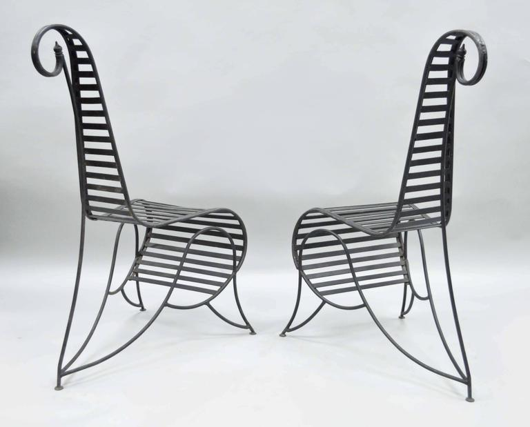 Pair of Sculptural Steel and Iron Spine Lounge Chairs after André Dubreuil In Good Condition For Sale In Philadelphia, PA