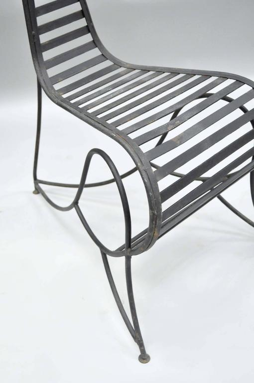 Pair of Sculptural Steel and Iron Spine Lounge Chairs after André Dubreuil For Sale 2