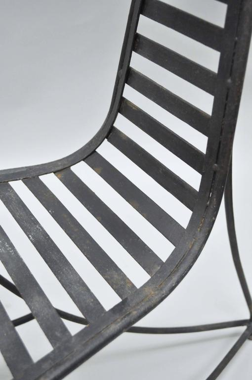 Pair of Sculptural Steel and Iron Spine Lounge Chairs after André Dubreuil For Sale 1