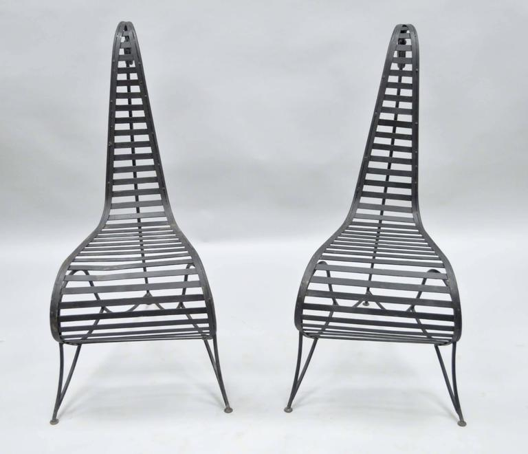 Pair of Sculptural Steel and Iron Spine Lounge Chairs after André Dubreuil For Sale 3