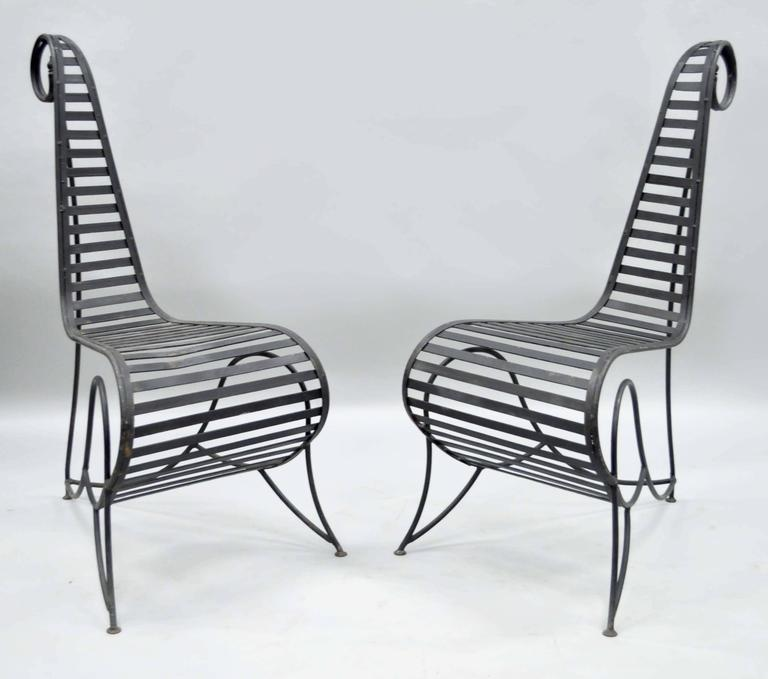 Pair of Sculptural Steel and Iron Spine Lounge Chairs after André Dubreuil For Sale 4
