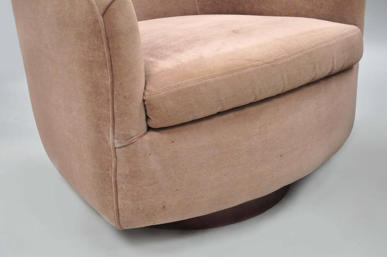 Fabric Pair of Milo Baughman Thayer Coggin Swivel Walnut Base Barrel Back Club Chairs For Sale
