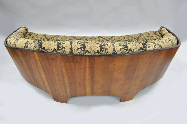 Mid-20th Century Henry P Glass Sculptural Intimate Island Suite Walnut Curved Sofa For Sale