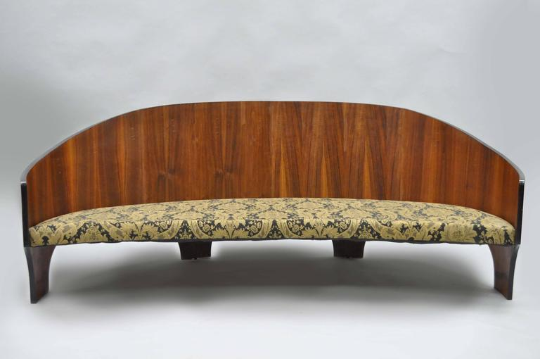 Mid-Century Modern Henry P Glass Sculptural Intimate Island Suite Walnut Curved Sofa For Sale