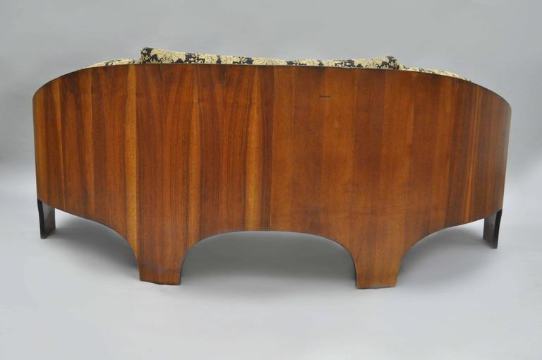 Henry P Glass Sculptural Intimate Island Suite Walnut Curved Sofa In Good Condition For Sale In Philadelphia, PA