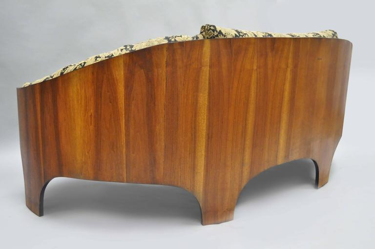 Henry P Glass Sculptural Intimate Island Suite Walnut Curved Sofa For Sale 1