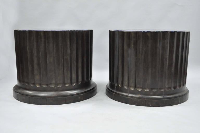 American Impressive Pair of Custom Fluted Column Pedestal Stands with Faux Specimen Tops For Sale