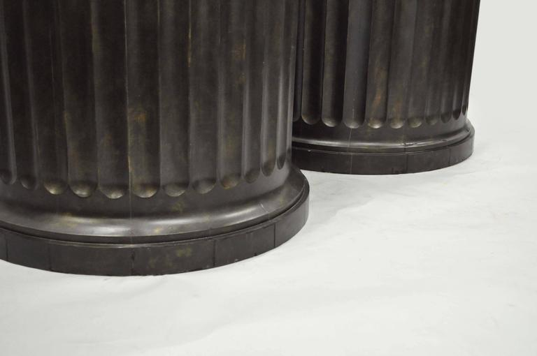 Impressive Pair of Custom Fluted Column Pedestal Stands with Faux Specimen Tops In Good Condition For Sale In Philadelphia, PA