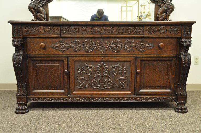 Victorian Quartersawn Oak Figural Sideboard And Mirror