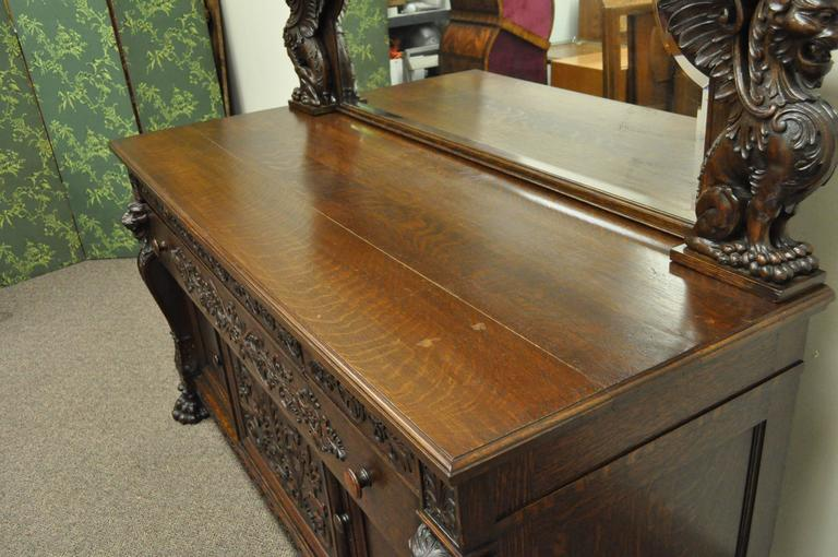 Victorian Quartersawn Oak Figural Sideboard and Mirror with Lions and Griffins For Sale 1