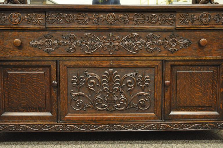 Victorian Quartersawn Oak Figural Sideboard and Mirror with Lions and Griffins For Sale 2