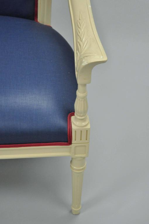 Pair of Vintage French Hollywood Regency Cream Lacquered Blue Lounge Chairs For Sale 1