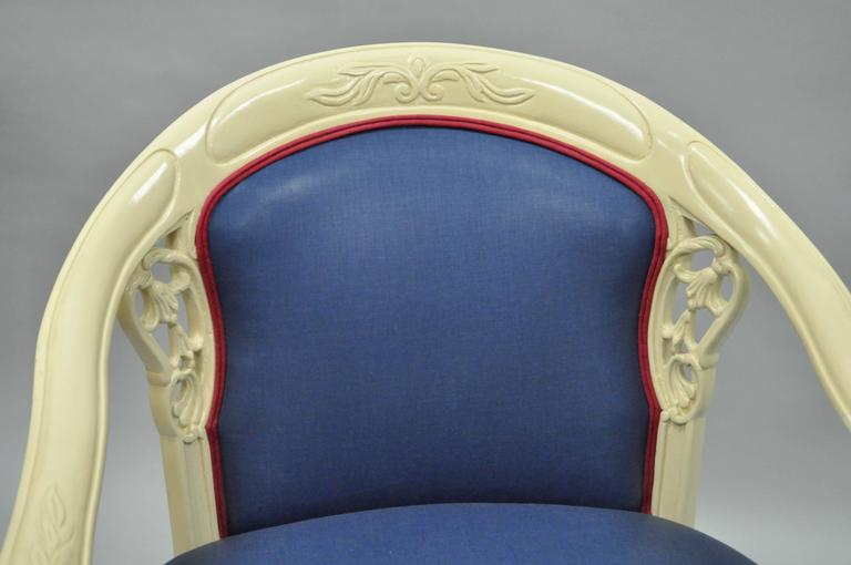 Pair of Vintage French Hollywood Regency Cream Lacquered Blue Lounge Chairs In Excellent Condition For Sale In Philadelphia, PA
