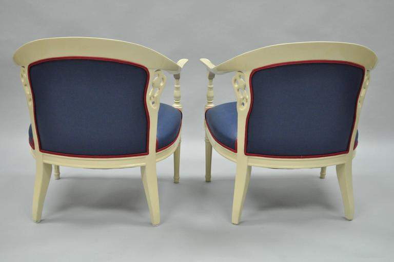 Fabric Pair of Vintage French Hollywood Regency Cream Lacquered Blue Lounge Chairs For Sale