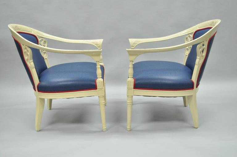 American Pair of Vintage French Hollywood Regency Cream Lacquered Blue Lounge Chairs For Sale