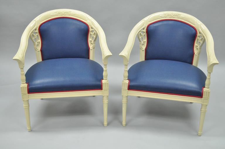 Pair of Vintage French Hollywood Regency Cream Lacquered Blue Lounge Chairs For Sale 3