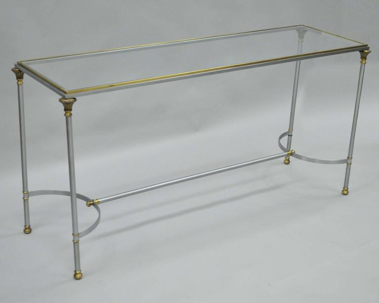 Vintage Italian Brushed Steel and Brass Directoire Neoclassical