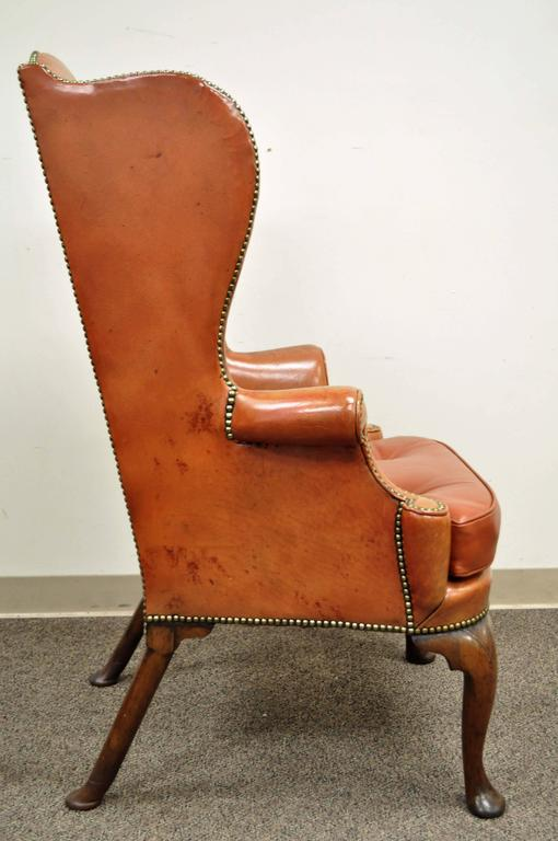 Queen Anne Antique 19th Century Burnt Orange Distressed Leather English  Wingback Chair For Sale