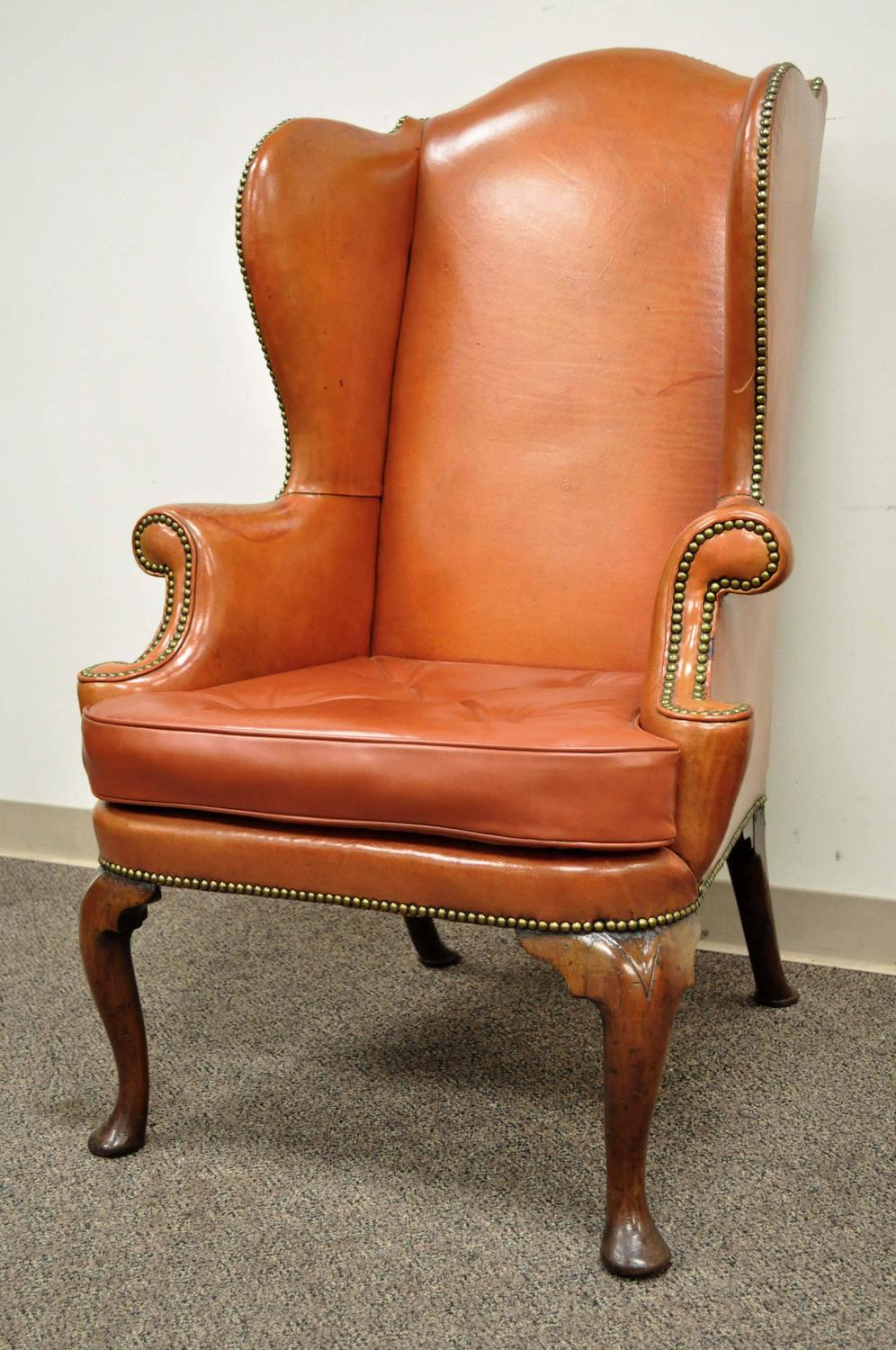 Antique 19th century burnt orange distressed leather for Leather wingback recliner sale