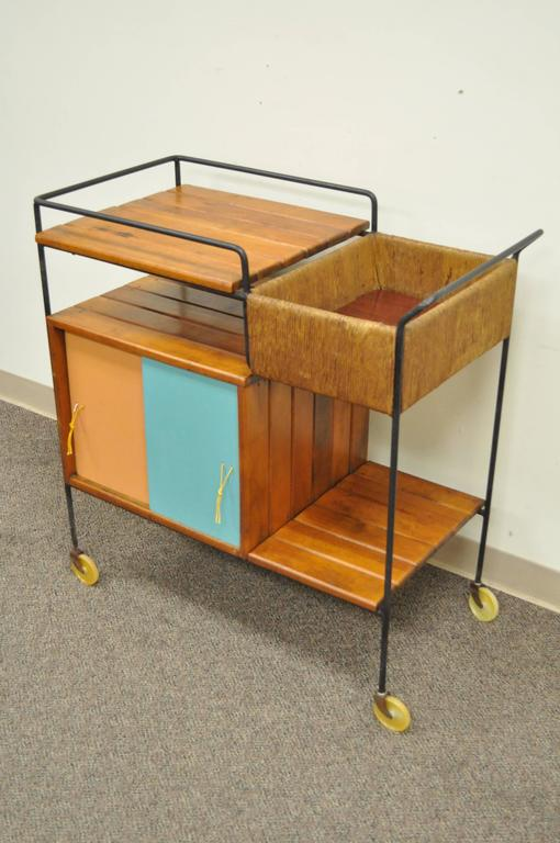 Vintage Arthur Umanoff Mid Century Modern Tiki Bar Cart Item Features A Wrought Iron